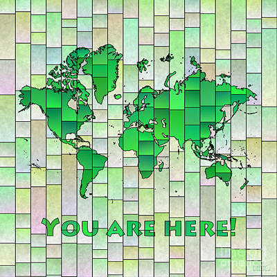 Digital Art - World Map Glasa Green Yellow You Are Here by Eleven Corners