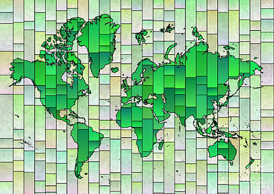 Digital Art - World Map Glasa In Green And Yellow by Eleven Corners