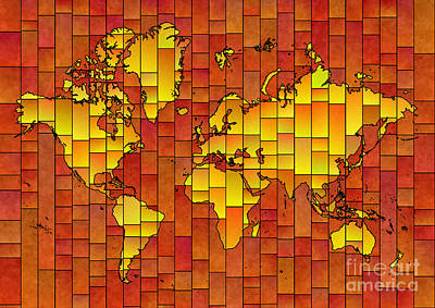 Digital Art - World Map Glasa In Orange And Yellow by Eleven Corners