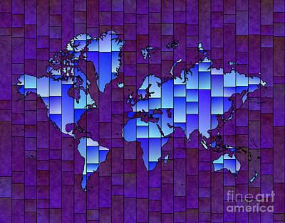 Digital Art - World Map Glasa In Purple And Blue by Eleven Corners