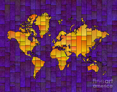 Digital Art - World Map Glasa In Purple And Yellow by Eleven Corners