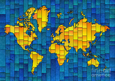 Digital Art - World Map Glasa In Yellow And Blue by Eleven Corners