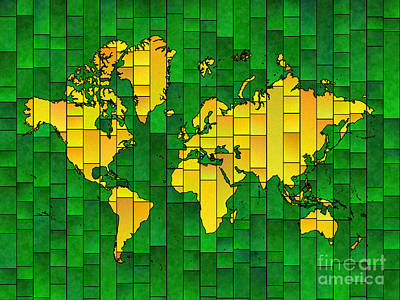 Digital Art - World Map Glasa In Yellow And Green by Eleven Corners