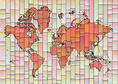 Digital Art - World Map Glasa Orange Pink by Eleven Corners