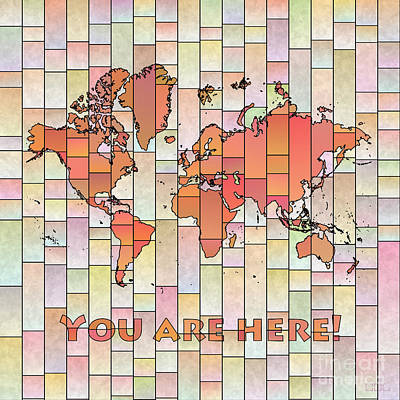 Digital Art - World Map Glasa Orange Pink You Are Here by Eleven Corners