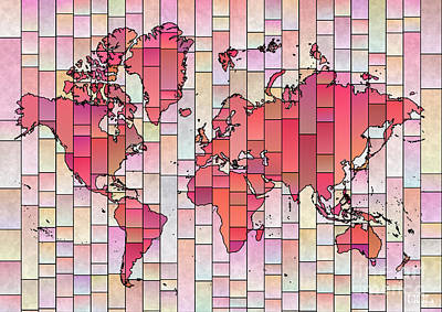 Digital Art - World Map Glasa Pink And Yellow by Eleven Corners