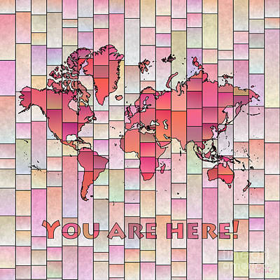 Digital Art - World Map Glasa Pink And Yellow You Are Here by Eleven Corners