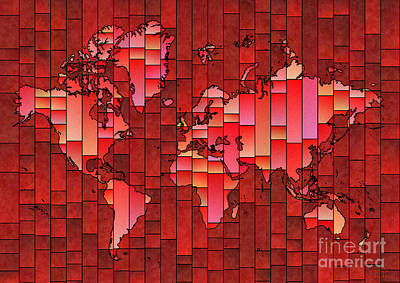World Map Glasa Red Art Print by Eleven Corners
