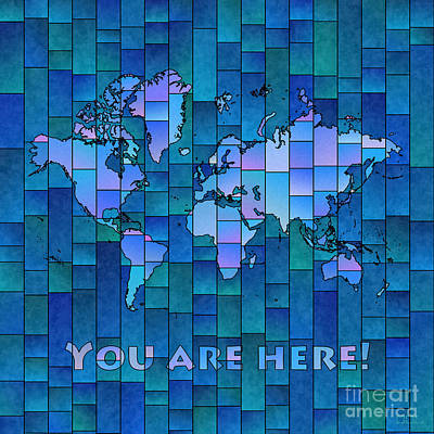 World Map Glasa You Are Here In Blue Art Print