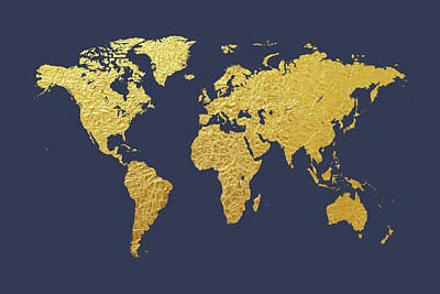 Cartography Wall Art - Digital Art - World Map Gold Foil by Michael Tompsett
