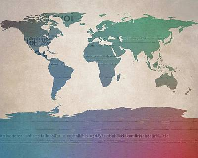Goodbye Mixed Media - World Map Greetings by Dan Sproul