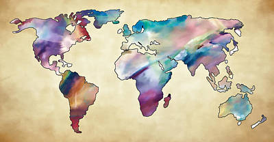 Photograph - World Map I by Athena Mckinzie