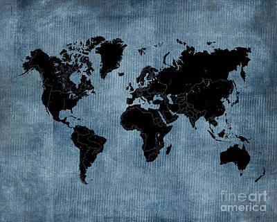 World Map In Blue Burlap Original