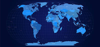 Planet Digital Art - World Map In Blue by Michael Tompsett