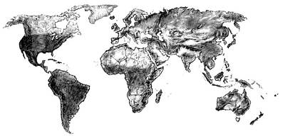 Art Print featuring the drawing World Map In Graphite by Heidi Kriel