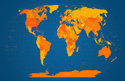 World Map In Orange And Blue Art Print by Michael Tompsett