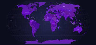 Earth Digital Art - World Map In Purple by Michael Tompsett