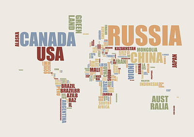 Global Digital Art - World Map In Words 2 by Michael Tompsett