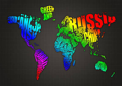 Russia Digital Art - World Map In Words by Michael Tompsett
