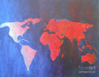 Painting - World Map by Jane See