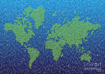 Digital Art - World Map Kotak In Blue And Green by Eleven Corners
