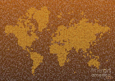 Digital Art - World Map Kotak In Brown by Eleven Corners