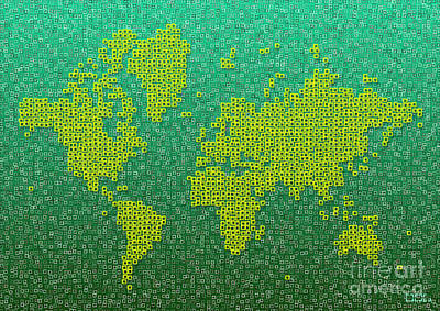 Digital Art - World Map Kotak In Green And Yellow by Eleven Corners