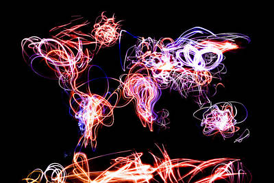 Planets Digital Art - World Map Light Writing by Michael Tompsett