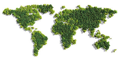 World Map Made Of Green Trees Art Print
