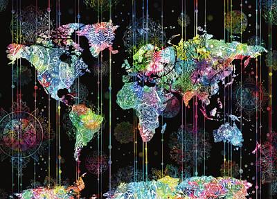 Digital Art - World Map Mandala Black 2 by Bekim Art