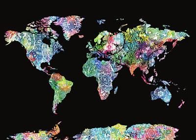 Digital Art - World Map Mandala Black by Bekim Art