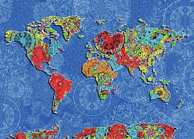 Digital Art - World Map Mandala Blue by Bekim Art