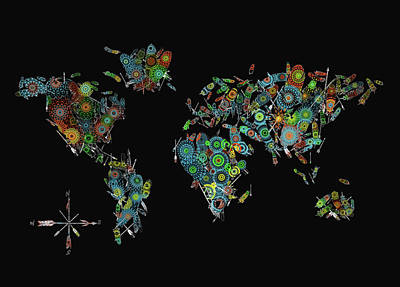 Digital Art - World Map Mandala Feathers 2 by Bekim Art