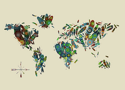 Digital Art - World Map Mandala Feathers 3 by Bekim Art