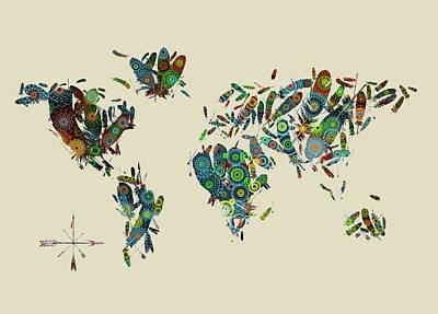 Digital Art - World Map Mandala Feathers 3 by Bekim Art
