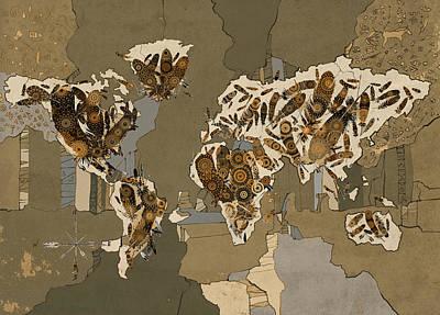 Digital Art - World Map Mandala Feathers 4 by Bekim Art