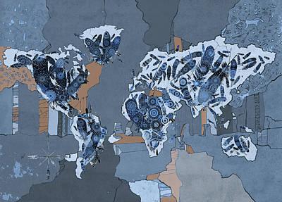 Digital Art - World Map Mandala Feathers 5 by Bekim Art