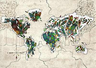 Digital Art - World Map Mandala Feathers by Bekim Art