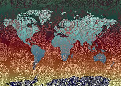 Digital Art - World Map Mandala Gold Green by Bekim Art