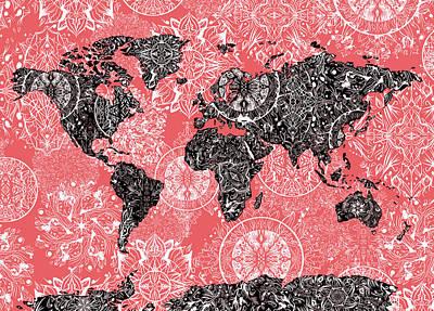 Digital Art - World Map Mandala Red by Bekim Art
