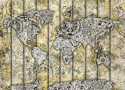 Digital Art - World  Map Mandala Sepia 2 by Bekim Art