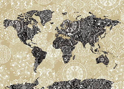 World Map Mandala Sepia Art Print