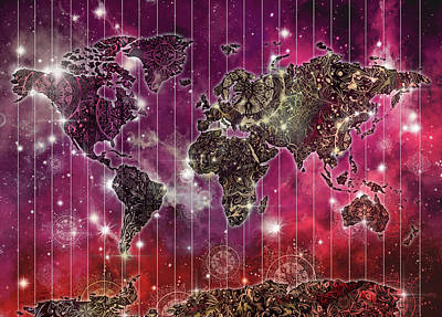 Digital Art - World Map Mandala Space 2 by Bekim Art