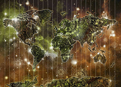 Digital Art - World Map Mandala Space 3 by Bekim Art