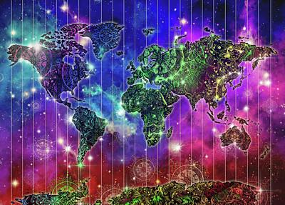 Digital Art - World Map Mandala Space by Bekim Art