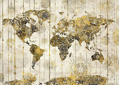 Digital Art - World Map Mandala Vintage by Bekim Art