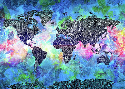 Digital Art - World Map Mandala Watercolor by Bekim Art
