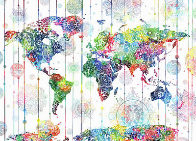 World Map Mandala White 1 Art Print