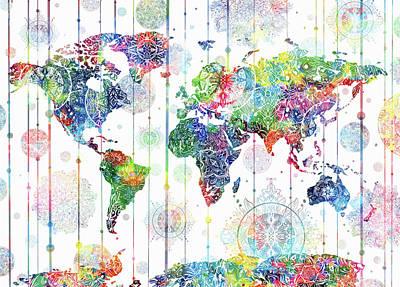 Digital Art - World Map Mandala White 1 by Bekim Art