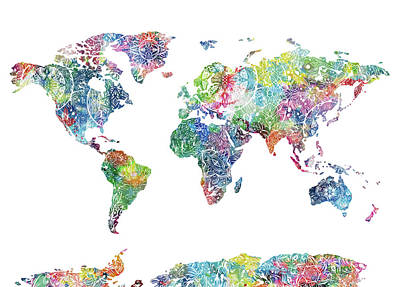 Digital Art - World Map Mandala White by Bekim Art